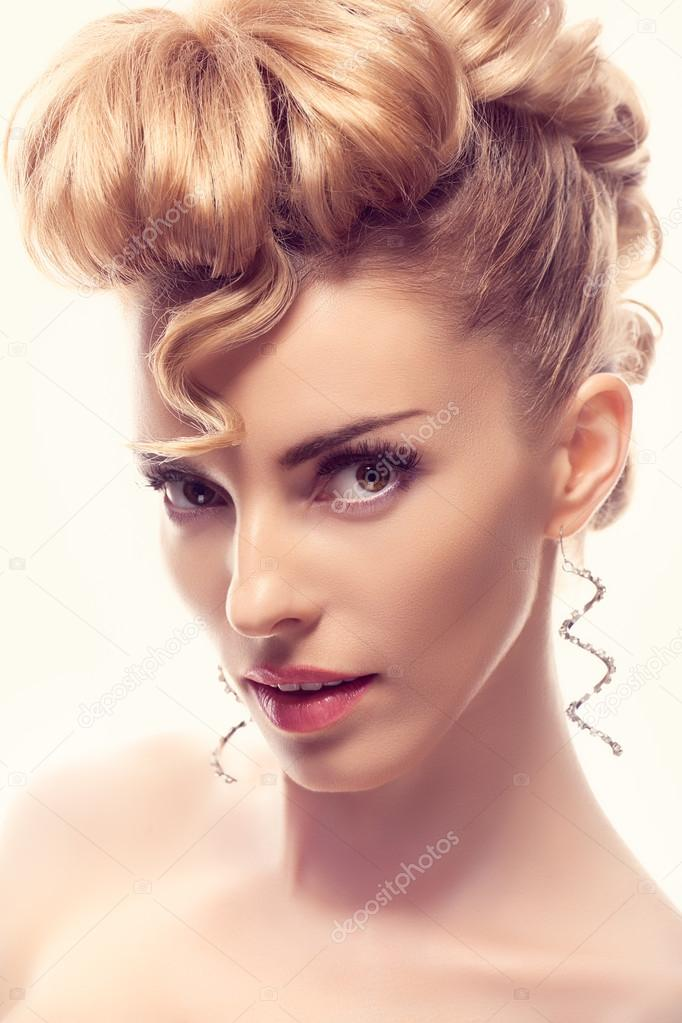 Fashion Natural Makeupwoman With Mohawk Hairstyle Stock Photo