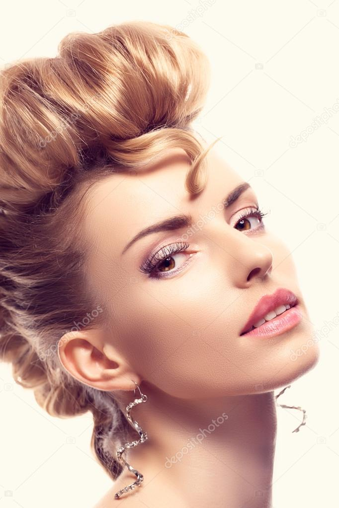 Fashion Mohawk Hairstyle Makeup Creative Unusual Stock Photo