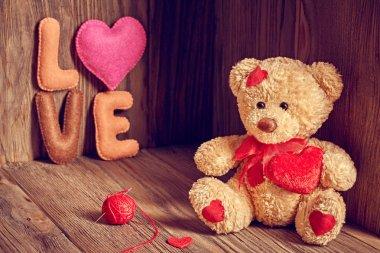Valentines Day. Teddy Bear Loving. Hearts, Handmade word Love. Retro.