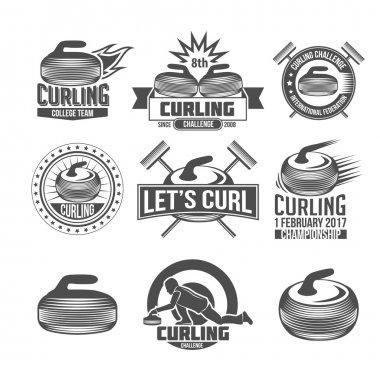 Curling sport badges set