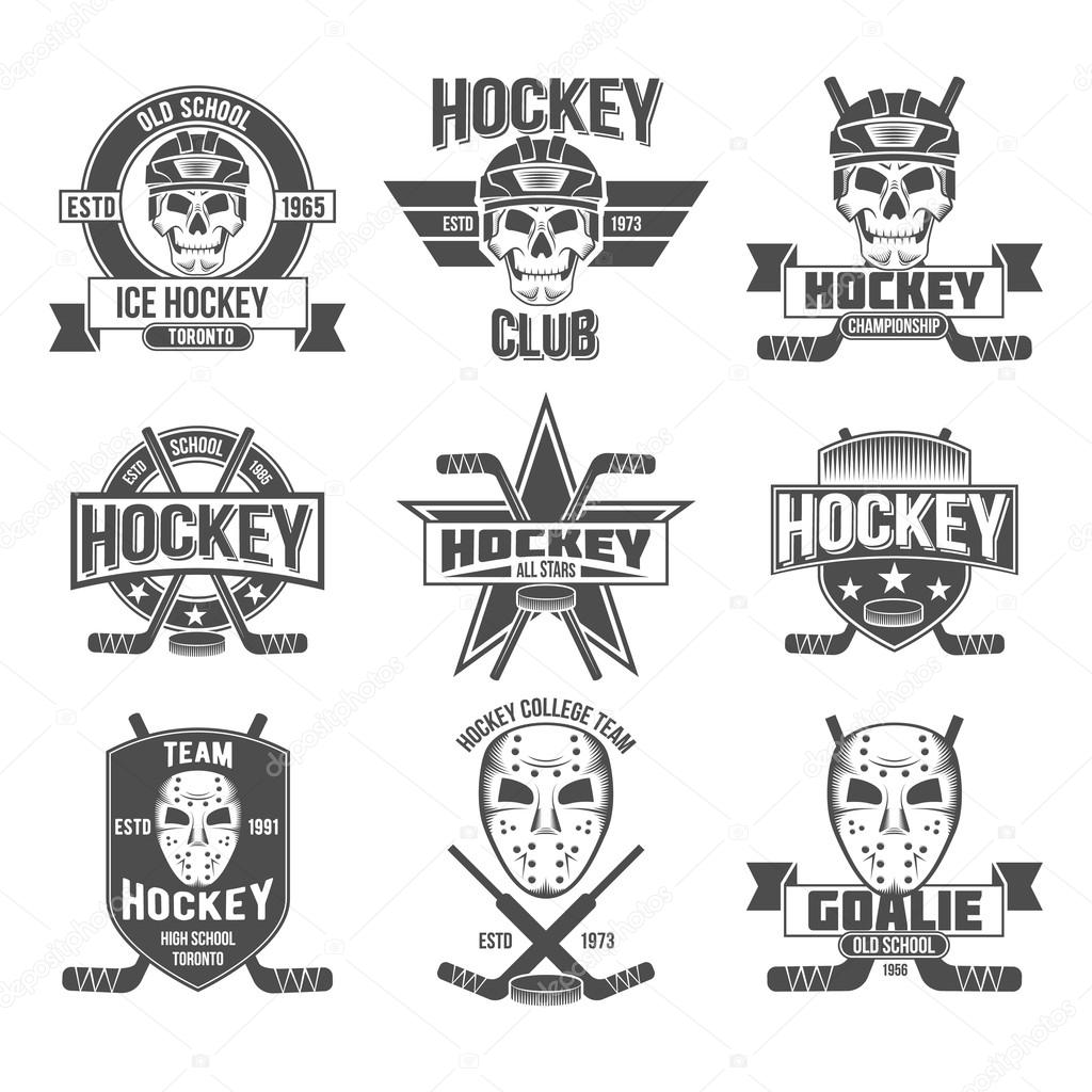 The Emblem With Goalkeeper Helmet Hockey Pucks Sticks Protective Masks Heraldic Shields Wreaths Ribbon Banners Vintage Badge Logo Template Vector