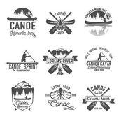 Fotografie Set of vintage canoeing  logo