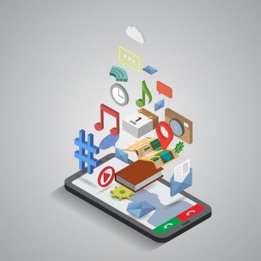 Mobile phone applications navigation communication isometric