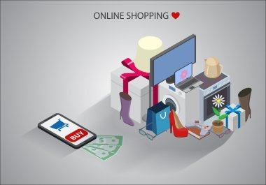 Isometric illustration of online shopping concept