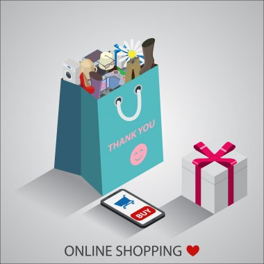 Shopping bag with different household appliances, gadjets, wear,