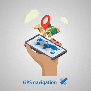 GPS mobile navigation with tablet or smartphone. Isometric style