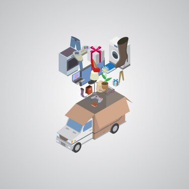 Delivery service van flat 3d  isometric concept vector.