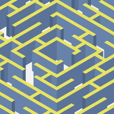 Vector illustration of maze.Isometric labyrinth flat style