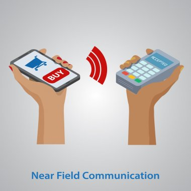 Mobile payment concept. NFC technology. Eps10 vector illustratio