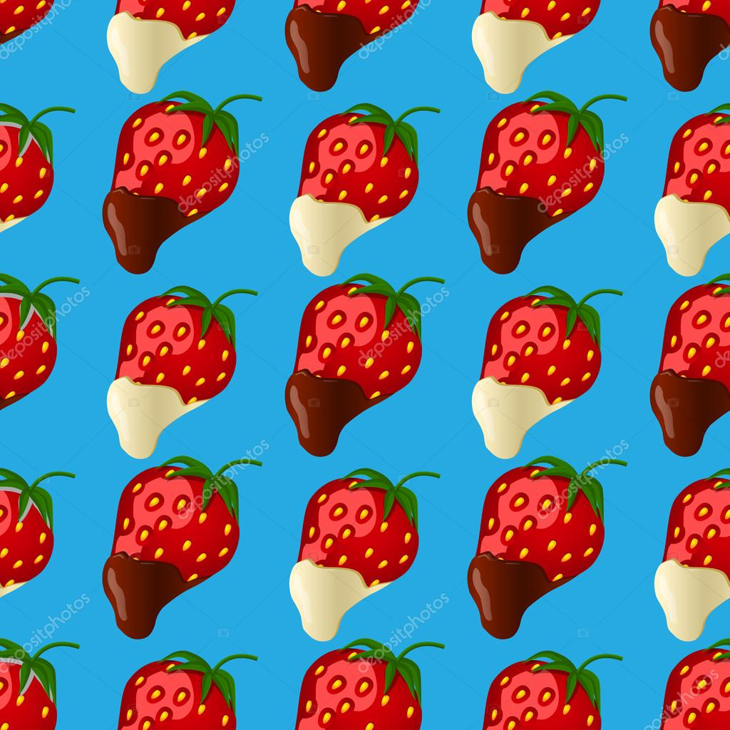strawberries in dark and white chocolate. Seamless pattern