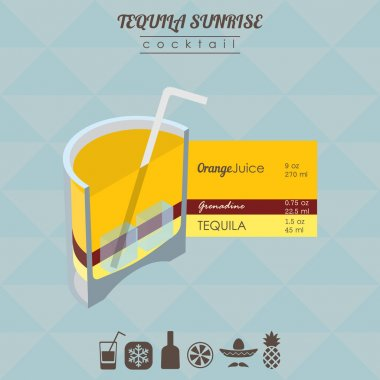 Tequila sunrise cocktail flat style isometric illustration with
