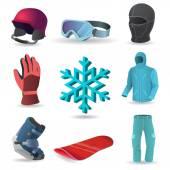 Fotografie Wintersport Vektor Icon-set
