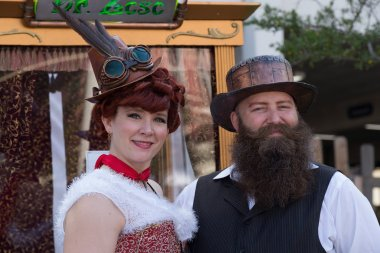 Galveston, TX/USA - 12 06 2014: Couple dressed in vintage style at Dickens on the Strand Festival in Galveston,  TX