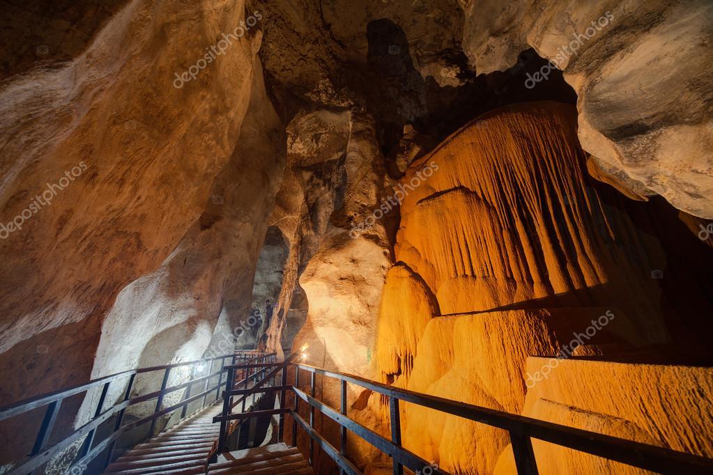 Passage in Diamond Cave or Tham Pranangnai in Krabi,  Thailand