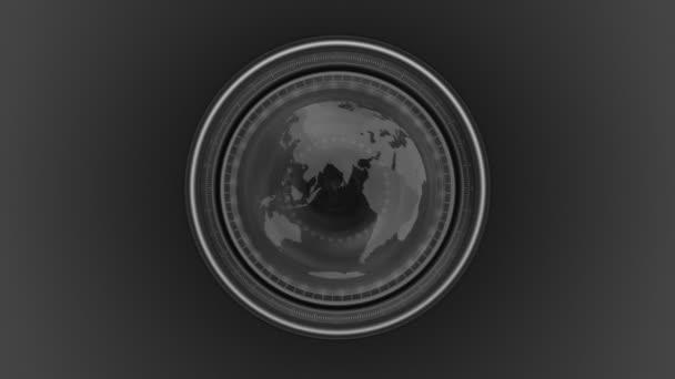 Earth map seen through a camera lens