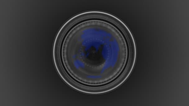 Earth planet seen through a camera lens