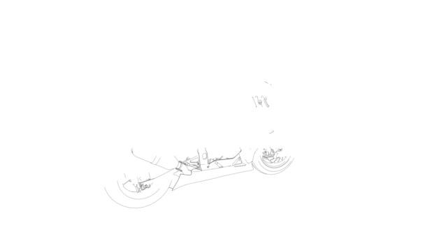 Motorka skica rotující vyrobené z vedení proti Bílému pozadí