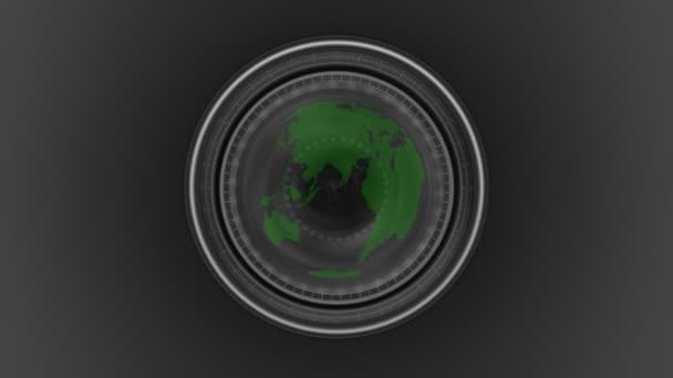 Green planet seen through a camera lens