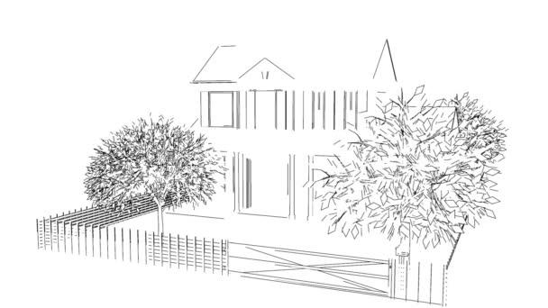 Dům z náčrt linek