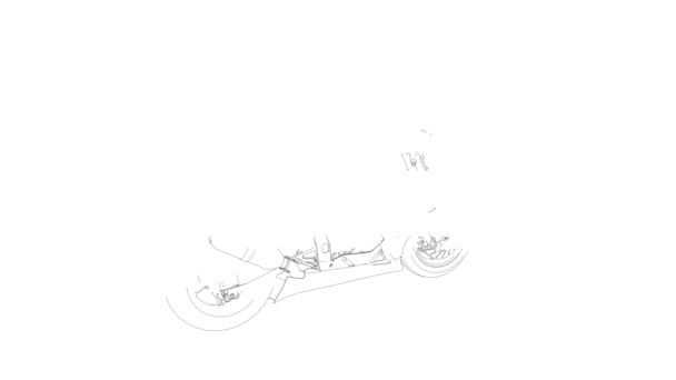 Motorbike sketch rotating made of lines against white background