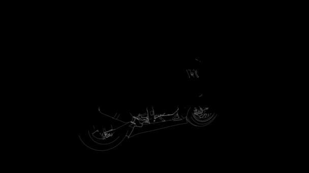 Motocykl, Skica otočení z linky proti černému pozadí
