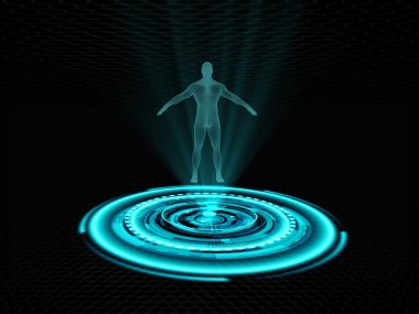 Human hologram presented on futuristic projector