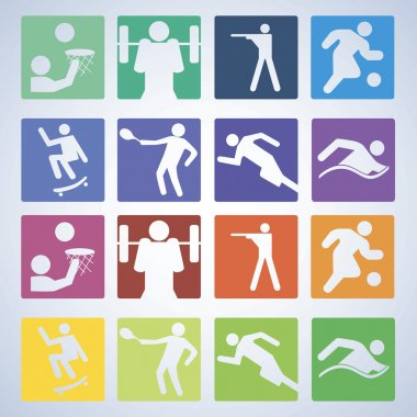 Sport set. Players of different sports. Vector illustration.