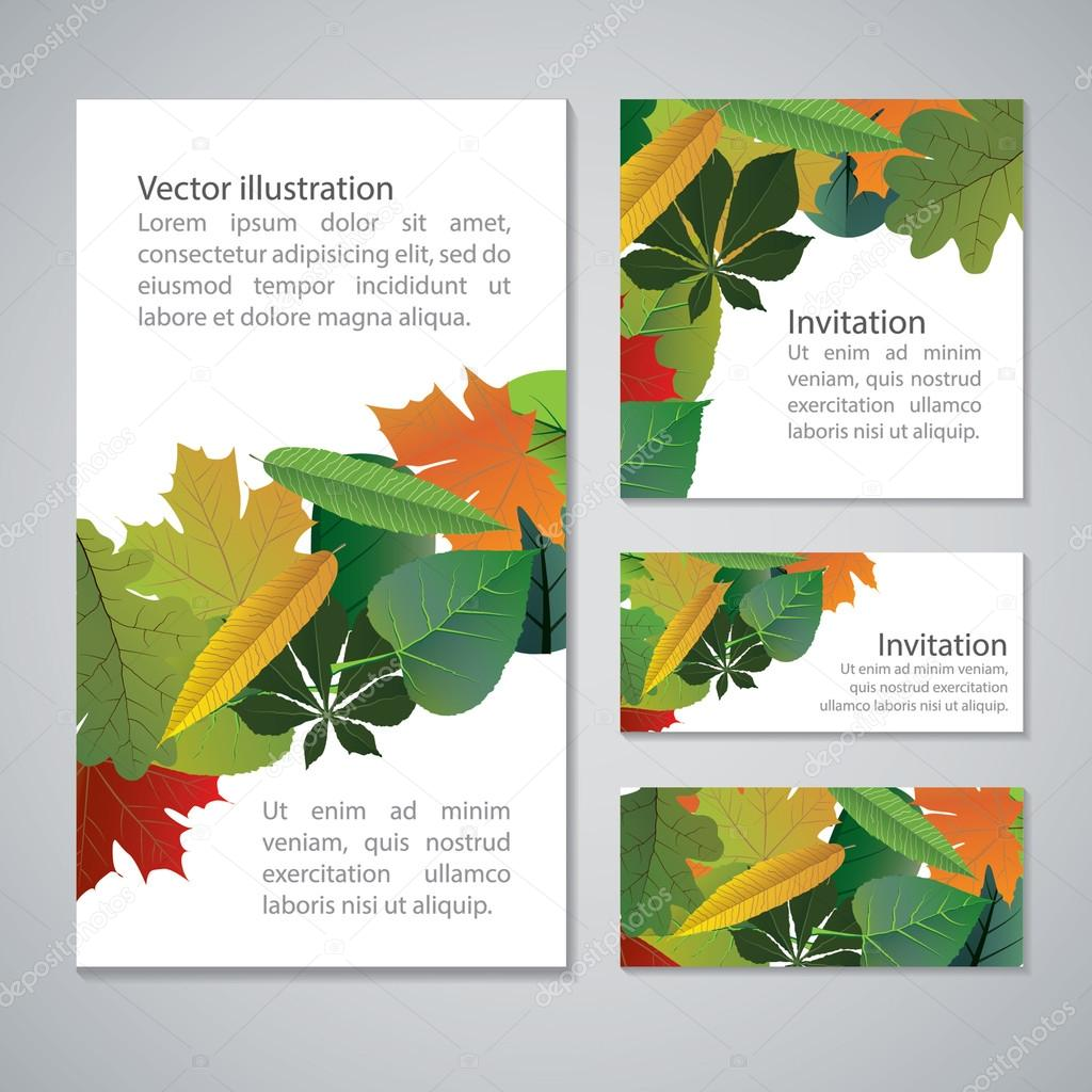 Vector set of colorful,  autumn leaves banners illustration