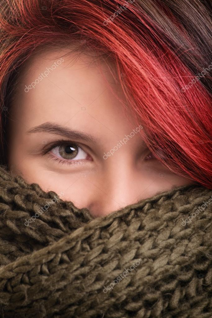 Portrait of a young girl wearing scarf