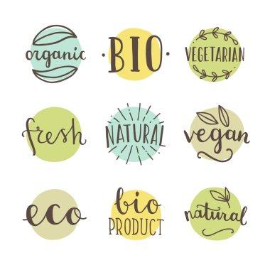 Bio, organic, natural. Set of hand drawn badges vector illustration icon