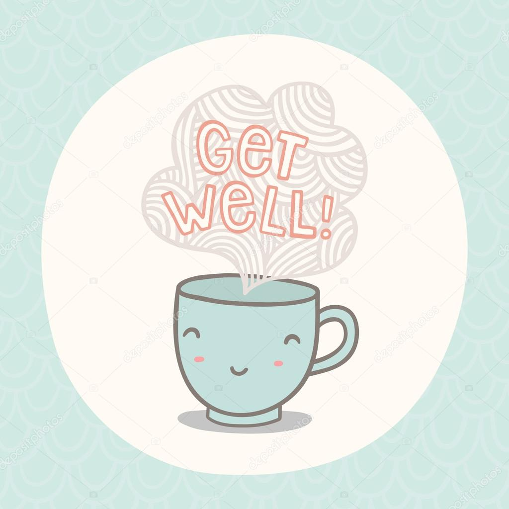 Get Well Greeting Card With Cute Smiling Cup Stock Vector