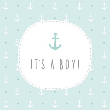 Its a boy. Anchor greeting card template.