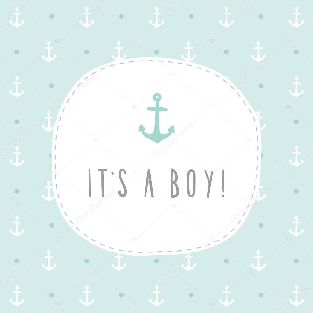 its a boy anchor greeting card template stock vector kondratya
