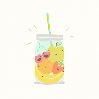 Fruits in smoothie jar.