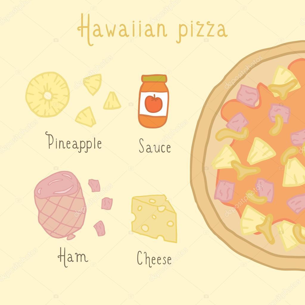 Ingredienti pizza hawaiana vettoriali stock kondratya for Piani di piantagione hawaiana