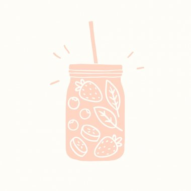 Pink smoothie jar silhouette with fruits and berries.