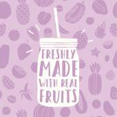 Čerstvě vyrobené s skutečné ovoce. Ruky nakreslené jar a ovoce vzor