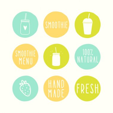 Hand drawn smoothie badges