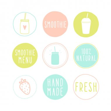 Set of different smoothie labels.