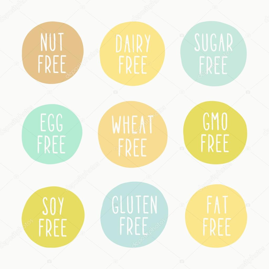 Nut, dairy, sugar, egg, wheat, gmo, soy, gluten, fat free signs