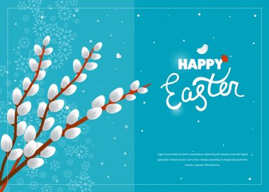 Easter card with pussy willow tree. Happy Easter logo template. Easter Sunday. Easter Day. Hand Lettering. Happy Easter illustration for greeting card, invitation, poster, banner stock vector