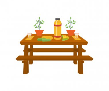 Summer picnic. Table with food and drink.