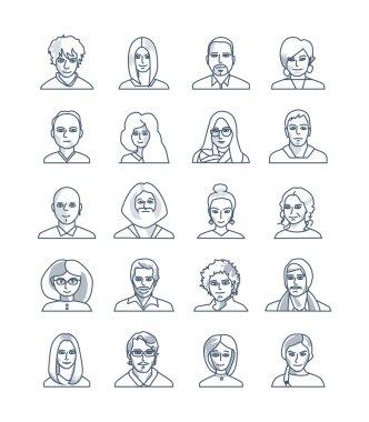 Modern thin line icons set of people avatars