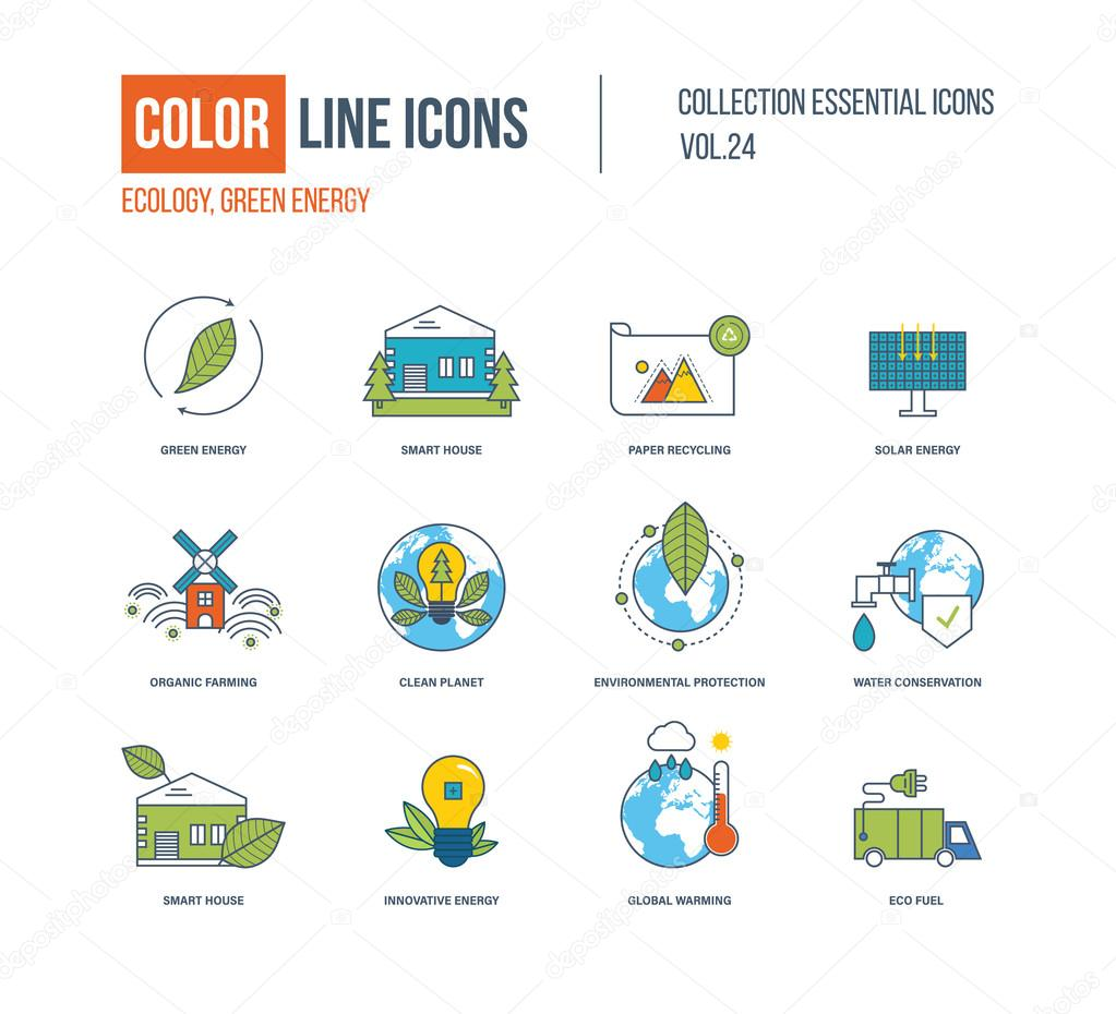 Color thin Line icons set. Ecology, green energy, smart house,