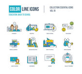 Photo Color thin Line icons set.