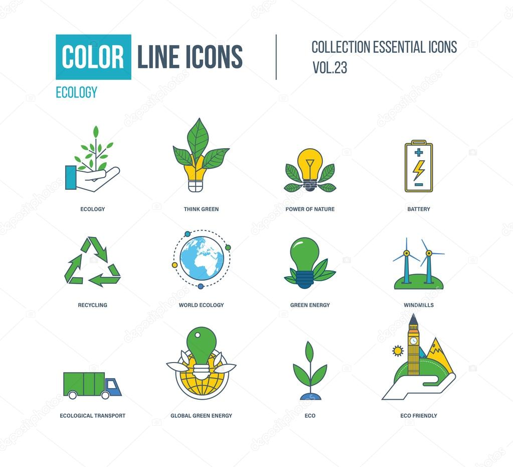 Color thin Line icons set. Ecology, green energy.