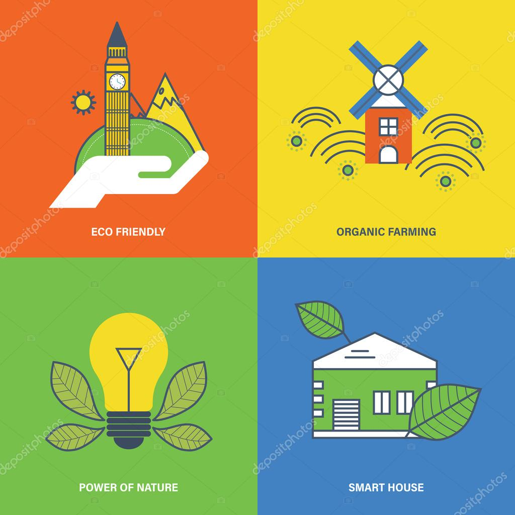 Concept of eco friendly, organic farmer, power  nature, smart house.