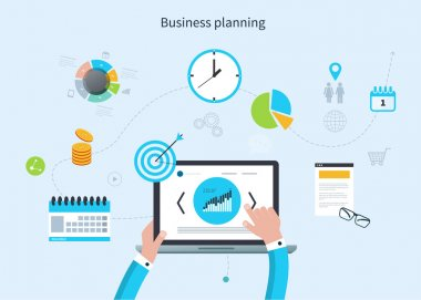 Concept with icons set of modern business working elements