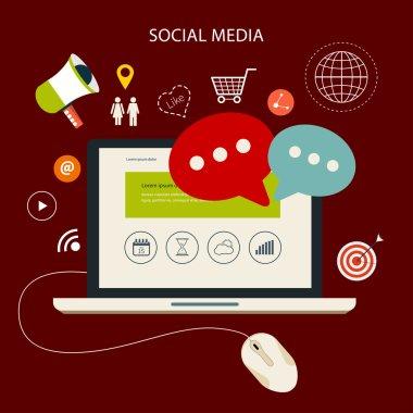 Icons set of cloud computing analytic social media