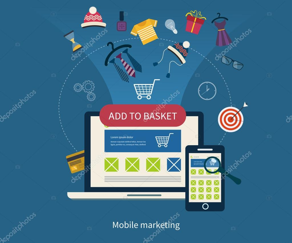 Icons for mobile marketing and online shopping